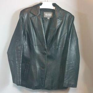 Wilson Black Leather coat size Large